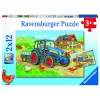 Baustelle und Bauernhof 2 x 12 Teile Puzzle