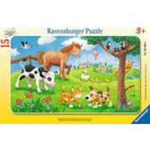 Knuffige Tierfreunde Rahmenpuzzle 15 Teile