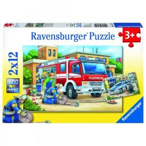 Polizei und Feuerwehr 2 x 12 Teile Puzzle
