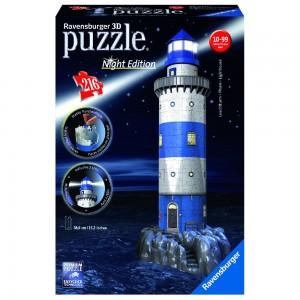 Leuchtturm bei Nacht 3D Puzzle-Bauwerke