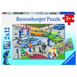 Mit Blaulicht unterwegs Puzzle 2 x 12 Teile