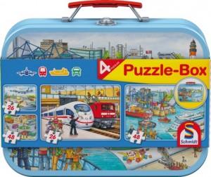 Verkehrsmittel, Puzzle 2x26, 2x48 Teile im Metallkoffer