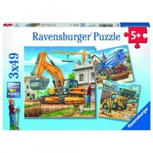 Große Baufahrzeuge Puzzle 3 x 49 Teile Puzzle