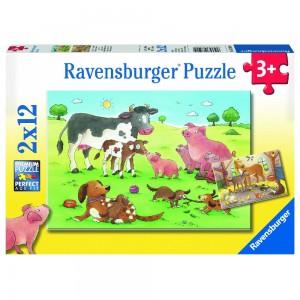Glückliche Tierfamilien 2 x 12 Teile Puzzle