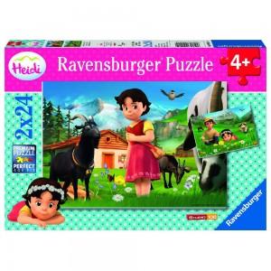 Heidi in den Alpen 2 x 24 Teile Puzzle