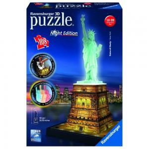Freiheitsstatue bei Nacht 3D Puzzle-Bauwerke