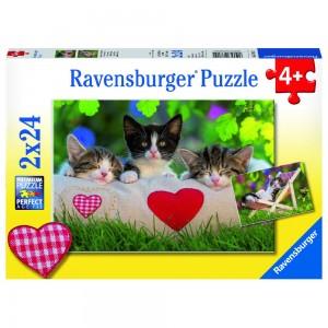 Verschlafene Kätzchen Puzzle 2 x 24 Teile