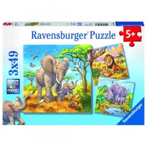Wilde Giganten 3 x 49 Teile Puzzle