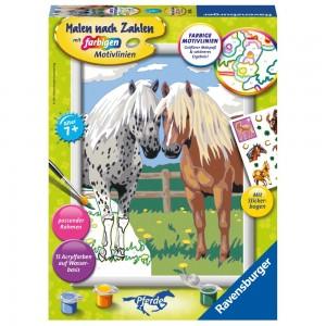 Glückliche Pferde Malen nach Zahlen Serie Pferde