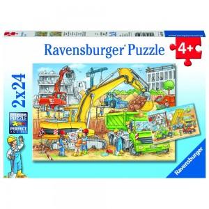 Viel zu tun auf der Baustelle 2 x 24 Teile Puzzle