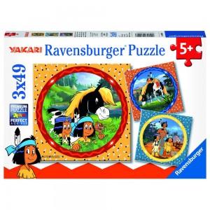 YAK: Yakari, der tapfere Indianer 3 x 49 Teile Puzzle