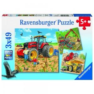 Große Maschinen 3 x 49 Teile Puzzle