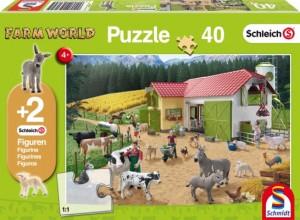 Ein Tag auf dem Bauernhof, Schleich Puzzle 40 Teile, mit Add-on (zwei Original Figuren)