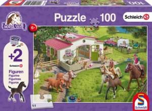 Ausritt ins Grüne, Schleich Puzzle 100 Teile, mit Add-on (zwei Original Figuren)