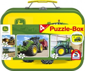 John Deere, Puzzle-Box, 2x60, 2x100 Teile im Metallkoffer - NEU