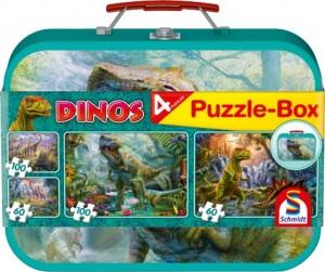 Dinos, Puzzle-Box, 2x60, 2x100 Teile im Metallkoffer