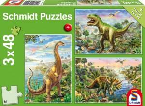 Abenteuer mit den Dinosauriern Puzzle 3x48 TEILE
