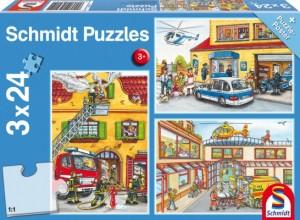 Feuerwehr und Polizei Puzzle 3x24 TEILE
