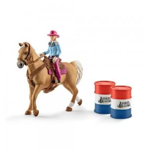 Barrel racing mit Cowgirl Schleich Farm World 41417