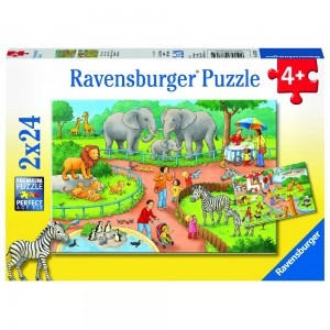 Ein Tag im Zoo 2 x 24 Teile Puzzle