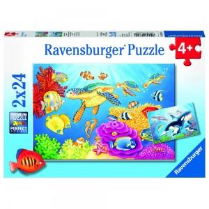 Kunterbunte Unterwasserwelt 2 x 24 Teile Puzzle