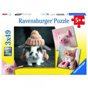 Witzige Tierportraits 3 x 49 Teile Puzzle