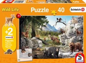 Die Tiere des Waldes, Schleich Puzzle 40 Teile, mit Add-on (zwei Original Figuren)