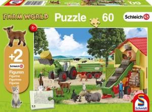 Heueinfahrt auf dem Bauernhof, Schleich Puzzle 60 Teile, mit Add-on (zwei Original Figuren)