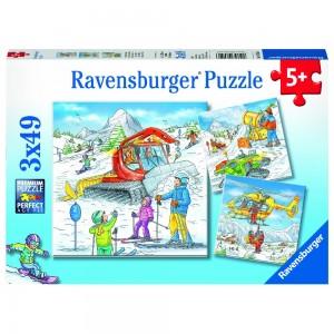 Auf der Skipiste 3 x 49 Teile Puzzle