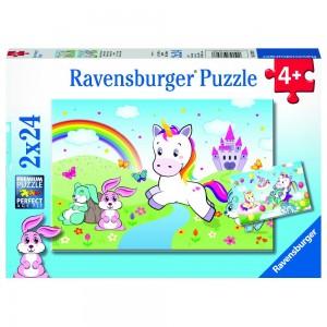 Märchenhaftes Einhorn 2 x 24 Teile Puzzle