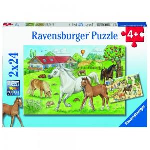 Auf dem Pferdehof 2 x 24 Teile Puzzle