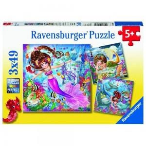 Bezaubernde Meerjungfrauen 3 x 49 Teile Puzzle