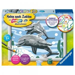 Freundliche Delfine Malen nach Zahlen Serie E
