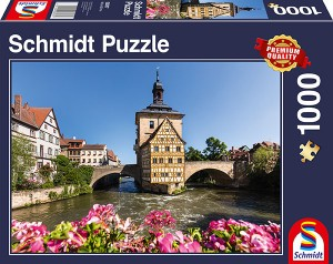 Bamberg, Regnitz und Altes Rathaus Puzzle 1000 Teile