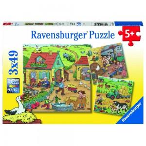 Viel los auf dem Bauernhof Puzzle 3 x 49 Teile
