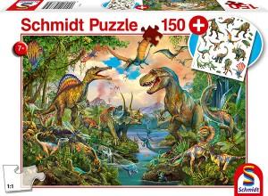 Wilde Dinos, Puzzle 150 Teile, mit Add-on (Tattoos Dinosaurier)
