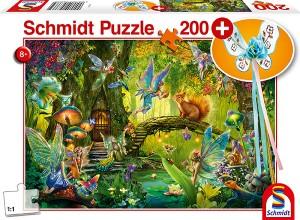 Feen im Wald, mit add on (Feenstab) Puzzle 200 Teile
