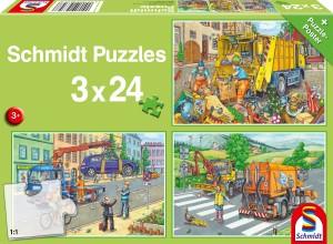 Müllwagen, Abschleppauto u. Kehrmaschine Puzzle 3x24 Teile