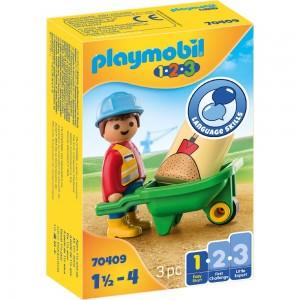 Bauarbeiter mit Schubkarre Playmobil 1.2.3 70409