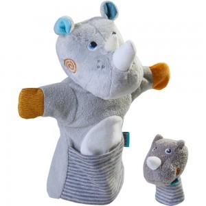 Handpuppe Nashorn mit Baby HABA