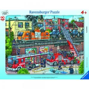 Feuerwehreinsatz an den Bahngleisen Rahmenpuzzle 30-48 Teile