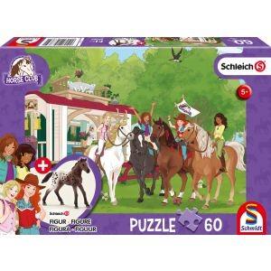 Clubtreffen vor dem Wohnwagen, Schleich Puzzle 60 Teile, mit Add-on (eine Original Figur)