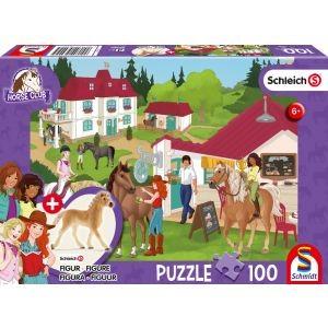 Horse Club, Auf dem Reiterhof, Schleich Puzzle 100 Teile, mit Add-on (eine Original Figur)