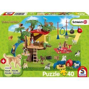 Farm World, Fröhliche Hunde, Schleich Puzzle 40 Teile, mit Add-on (eine Original Figur)