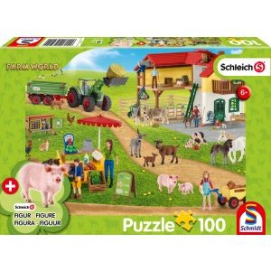 Farm World, Bauernhof und Hofladen, Schleich Puzzle 100 Teile, mit Add-on (eine Original Figur)