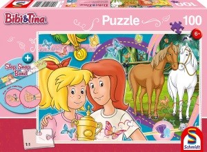 Pferdeglück, Puzzle 100 Teile BIBI & TINA, mit Add-on (Slap Snap Band bunt)
