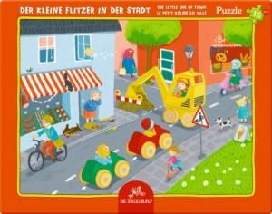 Rahmenpuzzle Der kleine Flitzer in der Stadt (15 Teile)