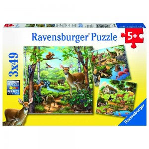 Wald-/Zoo-/Haustiere 3 x 49 Teile Puzzle