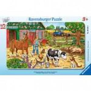 Glückliches Bauernhofleben Rahmenpuzzle 15 Teile