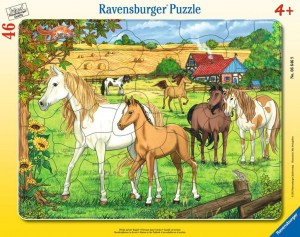 Pferde auf der Koppel 30-48 Teile Rahmenpuzzle